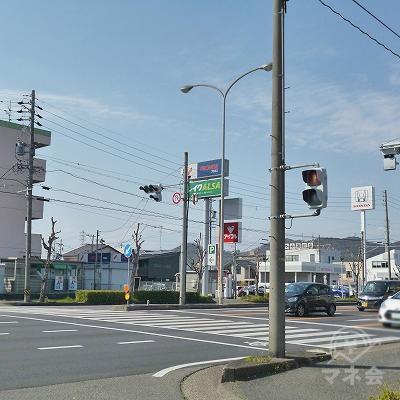 大通りとの交差点の先にレイクALSAのポール看板が見えますので、反対側へ渡ります。