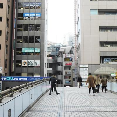 第一京浜の上をまたいで渡ります。