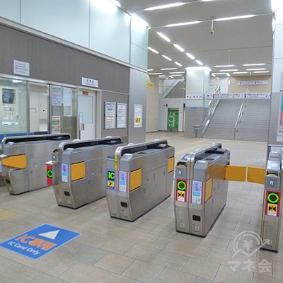 近鉄奈良線・若江岩田駅の改札口です(1ヶ所のみです)