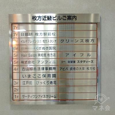 アイフルは5階です。エレベーターで5階にあがります。