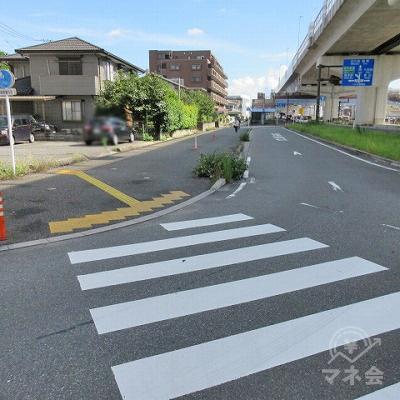 途中、横断歩道を渡ります。