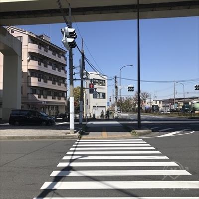 セブンイレブンに向けて横断歩道を渡り高架をくぐります。