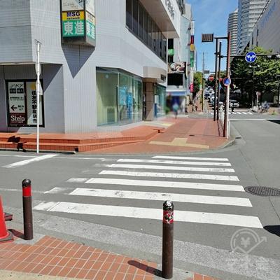 道に沿って歩くと横断歩道があります。直進します。