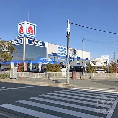 さらに続く信号も渡ると、ヤマダ電機の歩道に出ます。
