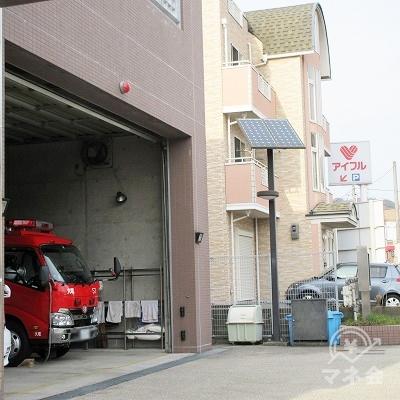 左手に大塚消防出張所。ここで、アイフルの看板が見えます。