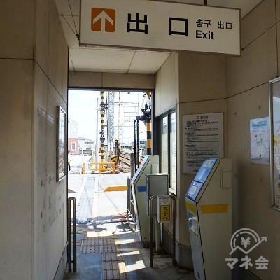 近鉄山田線・松ヶ崎駅の改札口(上下線別各1ヶ所、写真は伊勢方面側)。