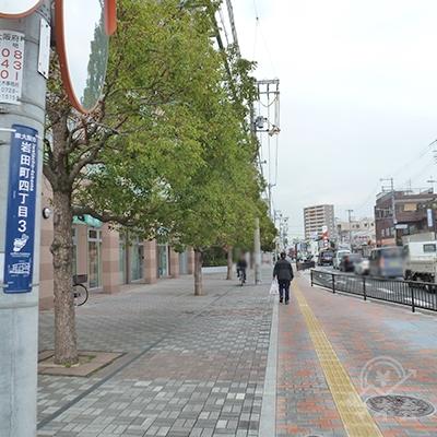 大阪府道21号沿いの歩道を800mほど直進します。