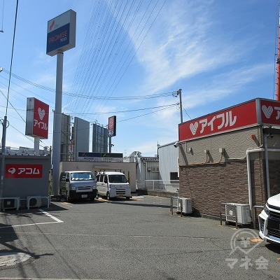 看板と中央のプロミス店舗が確認できます。