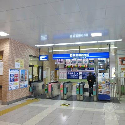 東武太田駅の改札(1か所)です。出て直進、右手に向かいます。