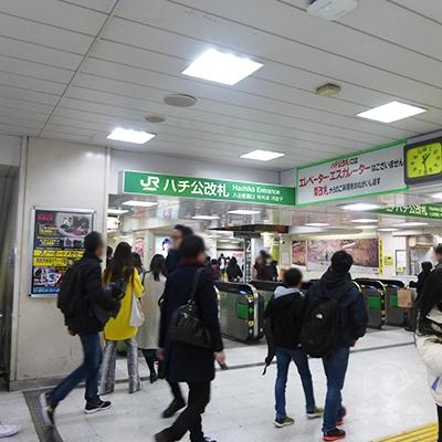 渋谷駅ハチ公改札です。ホームからの階段を下りて後ろに回った位置です。