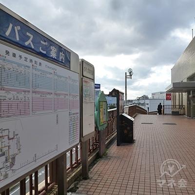 駅ビルを出たところで、右折し歩道を進みます。