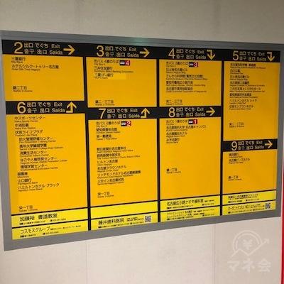 地下鉄東山線・地下鉄鶴舞線の伏見駅改札えお抜けたら、7番出口方面へ進みます。