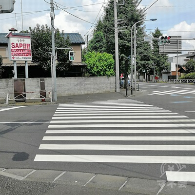 信号の先にSAP日野の看板があります。横断歩道を渡ります。