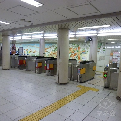 大阪メトロ長堀鶴見緑地線・今福鶴見駅の改札口(1ヶ所のみ)です。