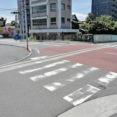 左側に橋が見えたら、左に曲がります。短い横断歩道があります。
