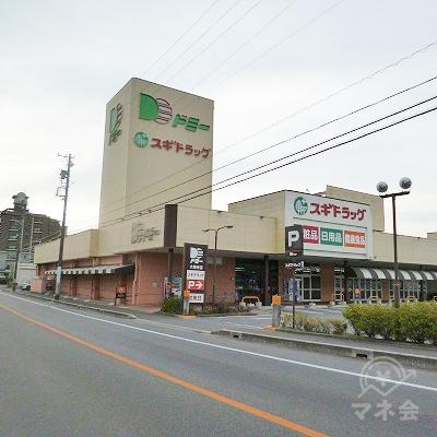 道中右手にスギドラッグが入るドミーという商業施設があります。