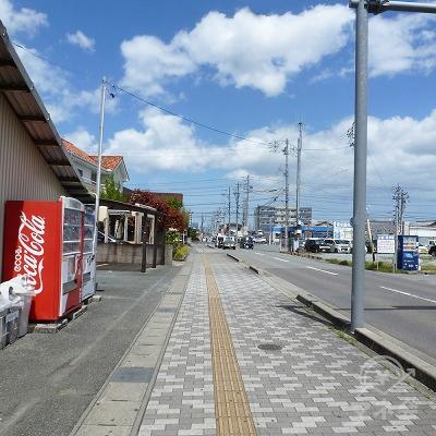 駅を出たら左折。2車線道路沿いの歩道を進みます。