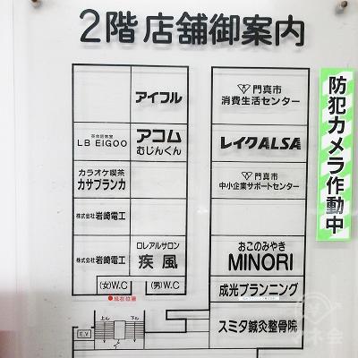 途中、左手に2階店舗御案内板があります。