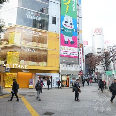 目的地の渋谷駅前ビルです。ここから地下に入っても構いません。