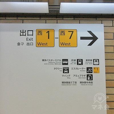 目の前にある案内表示に従い西6出口を目指します。