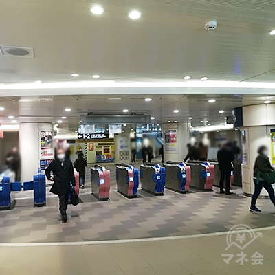 小田急小田原線 本厚木駅 中央改札口を出ます(改札口名表示なし)。