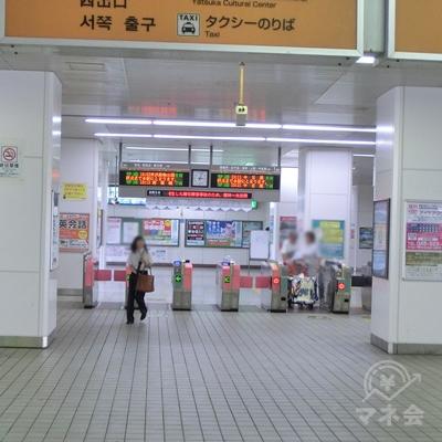 東武スカイツリーライン谷塚駅改札を出ます。