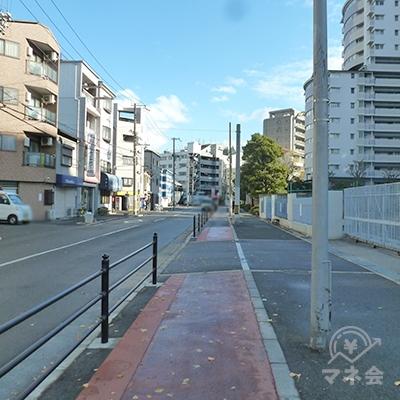 2車線道路沿いの歩道を進みます。