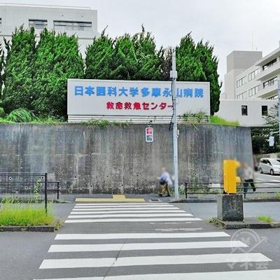 多摩永山病院前の信号を渡り、右の道を歩きます。