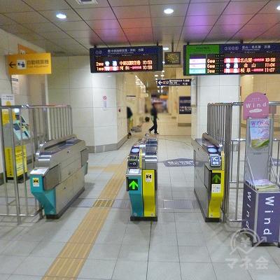 名鉄常滑線の太田川駅にて下車します。北出口方向の改札口を抜けます。
