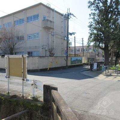 正面の公園を避け、塀(小学校)を左手に直進します。