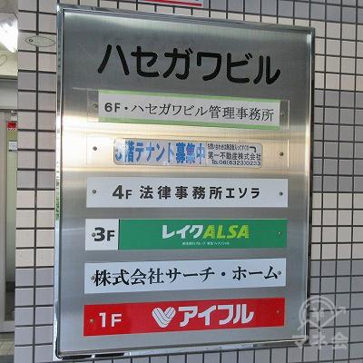 案内板です。レイクALSAは3階です。