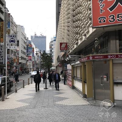右側にニュー新橋ビルを見ながら烏森通りを直進します。