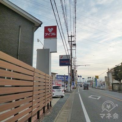 100m進み笠井街道を右折すると左手にプロミスの看板が見えてきます。