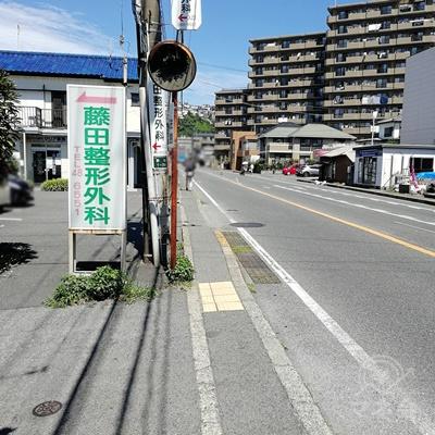 藤田整形外科の看板があります。この道を直進すると、レイクALSAに着きます。