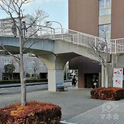 歩道橋の横を進み、右へ曲がります。突き当たりまで進みましょう。