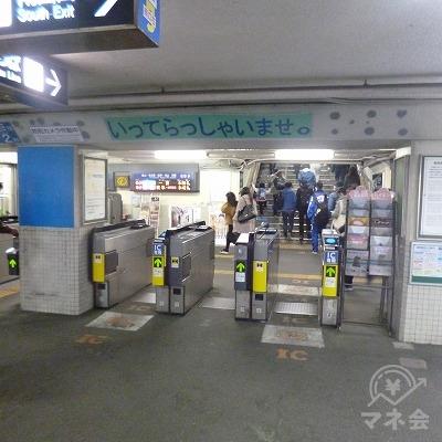 名鉄名古屋本線の新安城駅にて下車します。改札口は1つしかありません。
