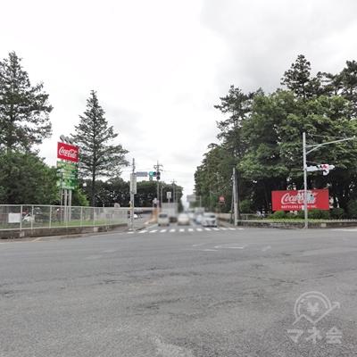 コカ・コーラの看板の交差点を左に曲がります。