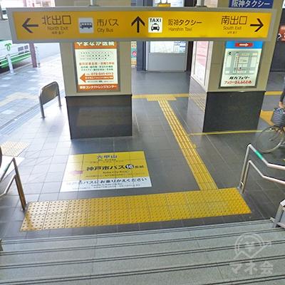 階段で地上に下りたら右折、「南出口」の方へ向かいます。