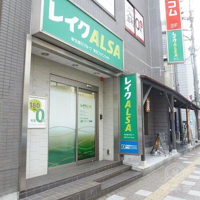 レイク店舗に到着です。大阪府道43号、歩道に面した1階です。