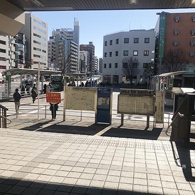 中央改札口を出たら右側の南口から外に出ます。