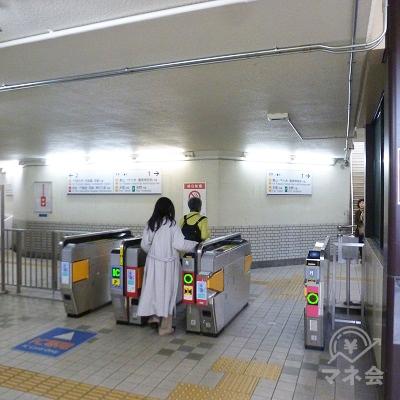 近鉄橿原線・西ノ京駅の改札口(1ヶ所のみ)です。