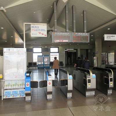 JR山陽本線、中庄駅改札(1か所のみ)を出ます。