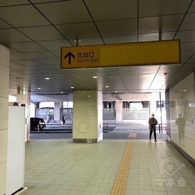 名鉄常滑線の太田川駅改札を抜けたら北出口へ向かいます。