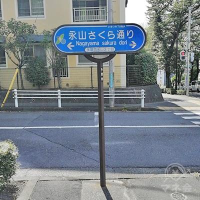 信号付近に永山さくら通りの看板があります。看板に近い信号を渡ります。