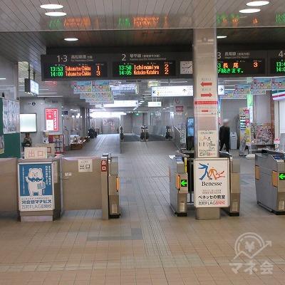 高松琴平電気鉄道、琴平線・ 長尾線瓦町駅改札を出ます。