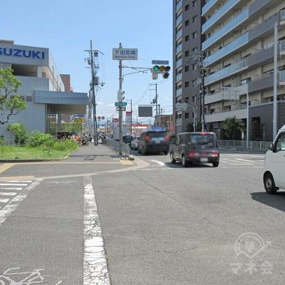 再び下田町交差点の表記が出てきます。SUZUKI側に渡ります。