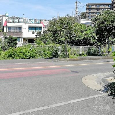 一本道を歩き、目先に藤田整形外科が見えたら、右に曲がりましょう。
