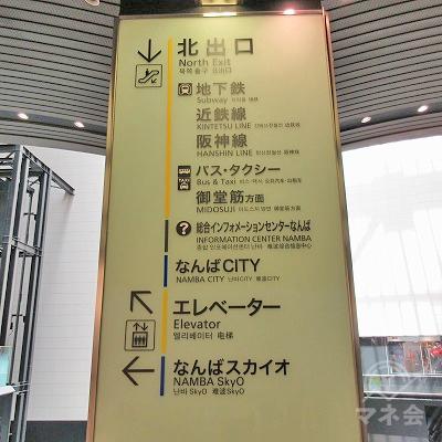 正面左の(階段前にある駅案内表示。)階段又はエスカレーターで下ります。