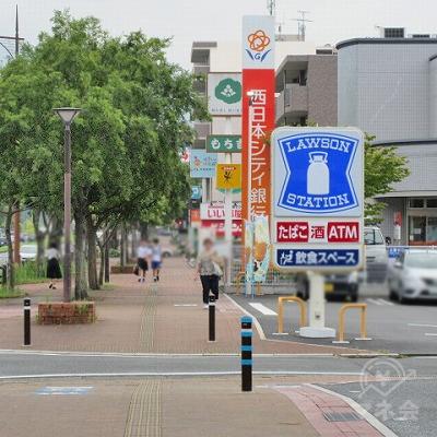 ローソン、西日本シティ銀行を通過します。