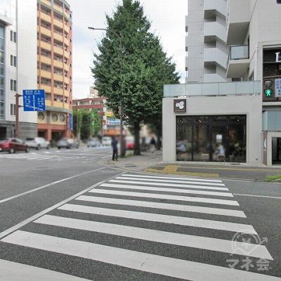 横断歩道を渡り、ここから約260m直進します。